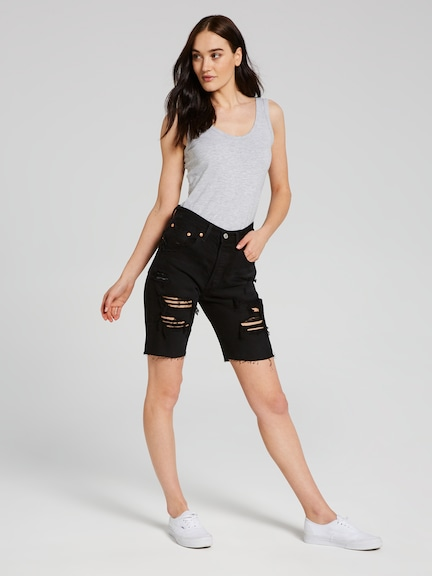 Levis 501 Slouch Short In Black Mark