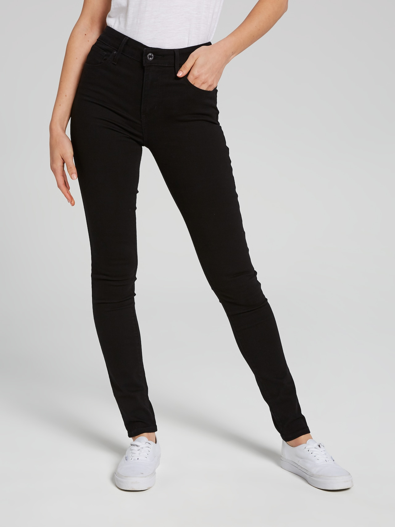 024795ab Levi's 721 High Rise Skinny Jean In Black Sheep - Just Jeans Online