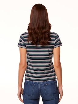 Riders By Lee Slim Tee In Navy & Sage Stripe