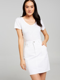 Riders By Lee Mid Rise Skirt In White