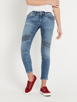 Mavi Aura Mid Rise Skinny Jean In Mid Brushed Glam