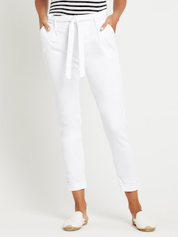Mavi Becca High Rise Taper In White Denim