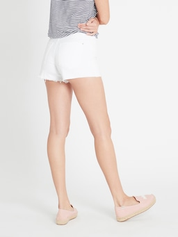Mavi Claire Hi Crop Short White