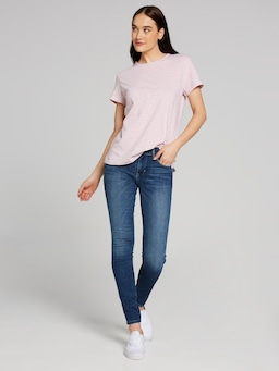 Mavi India Tee In White & Rose Stripe
