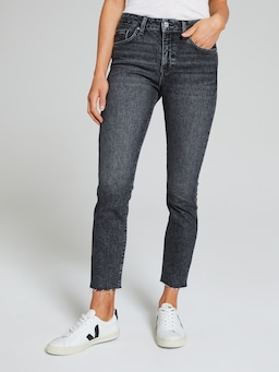 Mavi Viola High Rise Straight In Smoked Brushed Denim