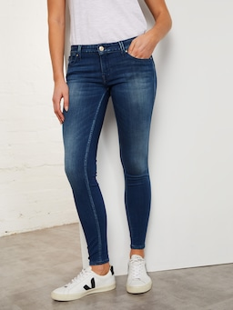 Guess Power Skinny Low Rise Jean In Super Indigo Wash