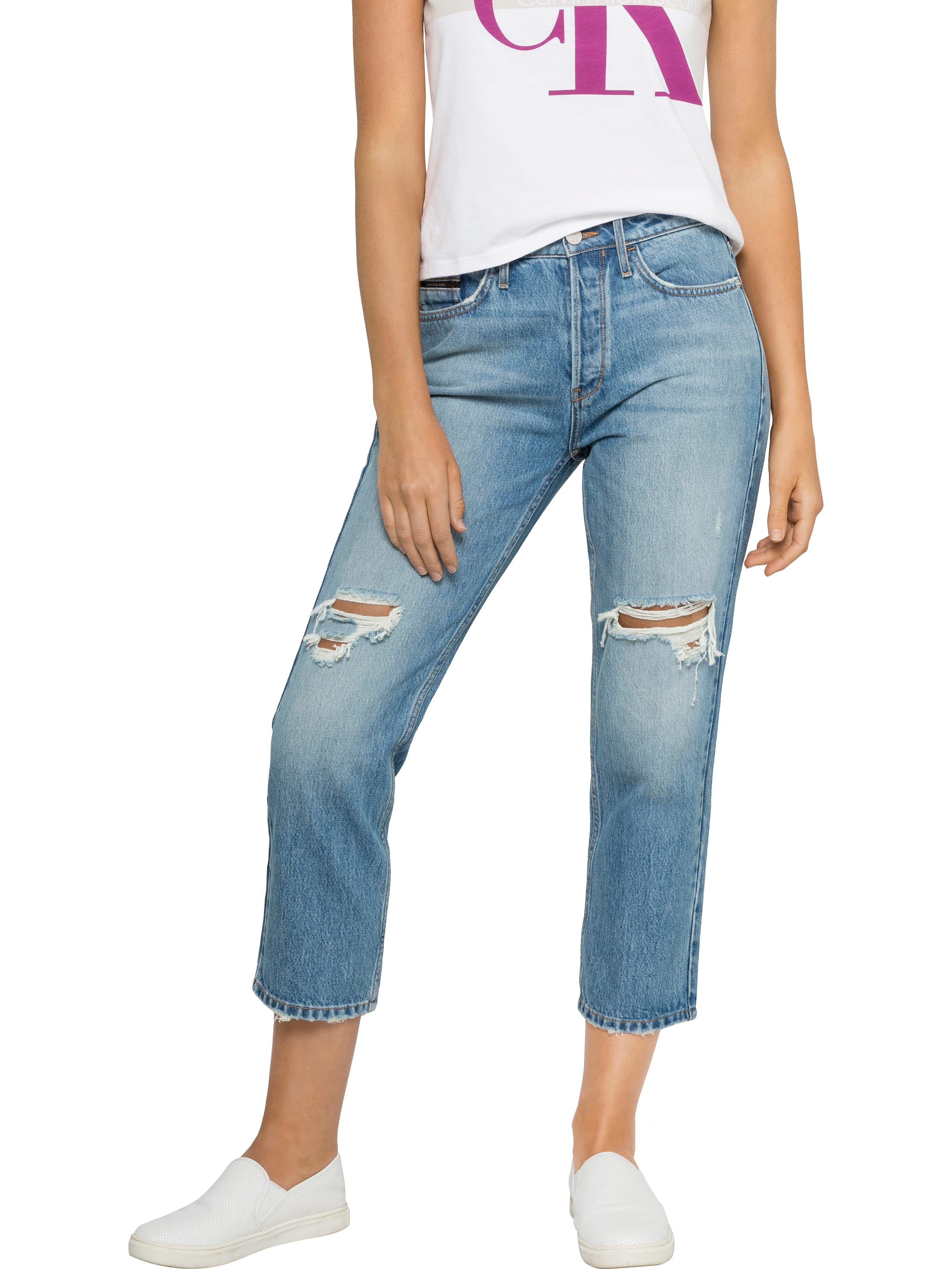 Just Jeans Calvin Klein High Rise Straight Ankle Jean In Zephyr Blue 8721522