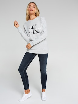Calvin Klein Monogram Sweat In Grey