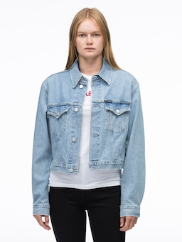 Calvin Klein Jeans Crop Trucker In Tough Blue