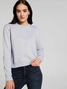 Calvin Klein Jeans Boxy Crew Neck Sweat In Light Grey