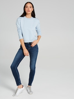 Calvin Klein Boxy Crew Neck Sweat In Skyway Blue