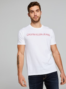 Calvin Klein Textured Institutional Tee In White