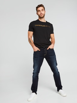 Calvin Klein Textured Institutional Tee In Black