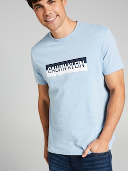 Calvin Klein Split Box Tee In Pale Blue