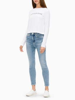 Calvin Klein Long Sleeve Crop Tee In White