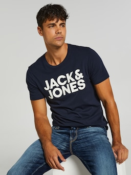 Jack And Jones Logo Tee Navy Blazer