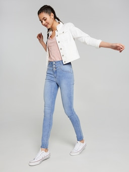 Girls 3 Button High Rise Skinny Jean