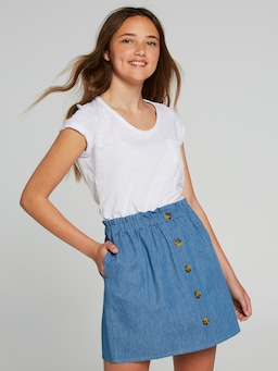 Girls Leona Button Front Skirt