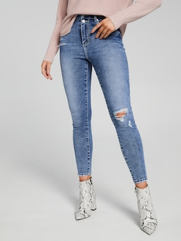 4D Double Waist Distressed Hem Jean