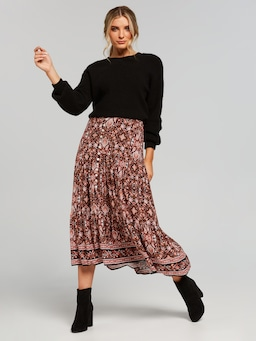 Kayla Button Down Tiered Skirt