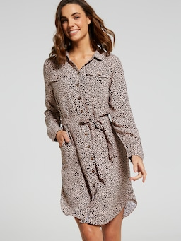 Krystal Button Down Shirt Dres