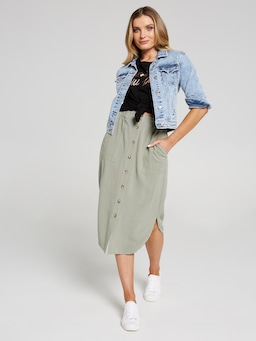 Greta Button Down Midi Skirt