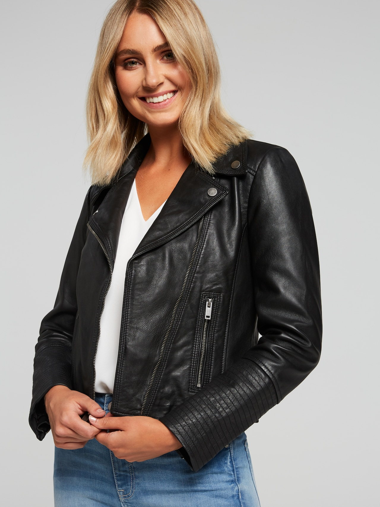 5071ecf3ee5f Ava Leather Jacket - Just Jeans Online