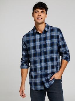 Long Sleeve Flannel Ombre Check Shirt