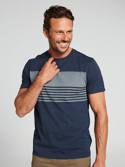 Short Sleeve Two Tone Chest Stripe Tee