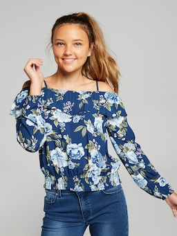 Girls Samara Printed Long Sleeve Top