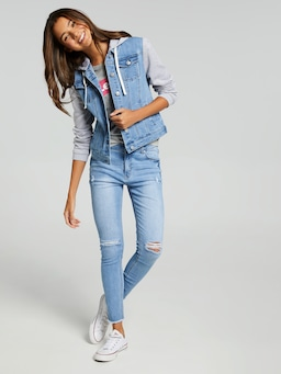 Girls Hooded Denim Jacket