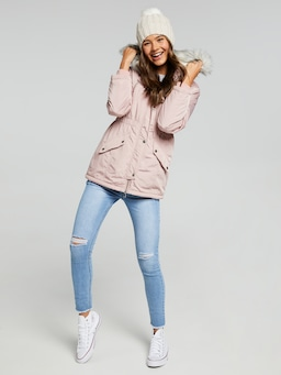 Girls Bella Fur Trim Hooded