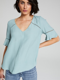 Alex V-Neck Flutter Sleeve Top