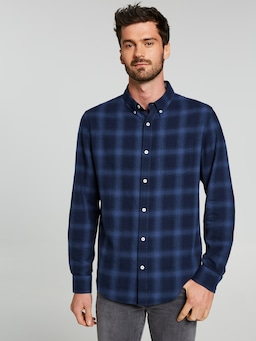 Ombre Dark Check Long Sleeve Shirt