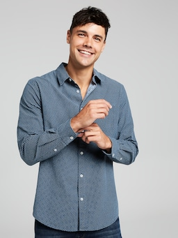 Ls Chambray Print Shirt