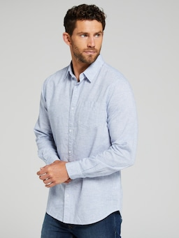 Long Sleeve Linen Texture Shirt