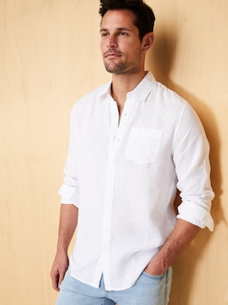 Long Sleeve Linen Plain Shirt
