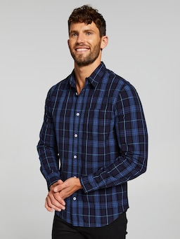 Long Sleeve Poplin Indigo Check Shirt