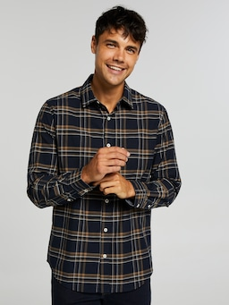 Long Sleeve Twill Marle Check