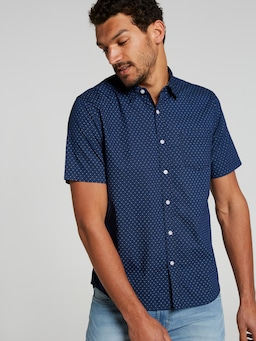 Short Sleeve Sw Poplin Print Shirt