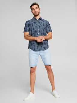 Short Sleeve Denim Palm Print Shirt