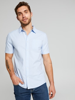 Short Sleeve Sw Lght Oxford Print Shirt