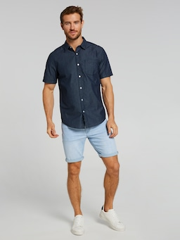 Short Sleeve Denim Grid Print Shirt