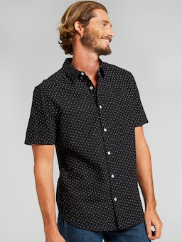 Ss Oxford Print Shirt