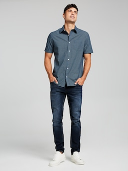 Short Sleeve Chambray Print Shirt