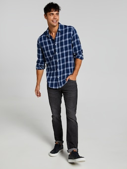 Long Sleeve Twill Indigo Ombre Shirt