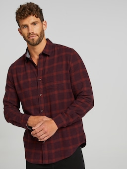 Long Sleeve Flannel Marle Check Shirt