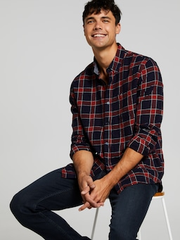Long Sleeve Flannel Indigo Check