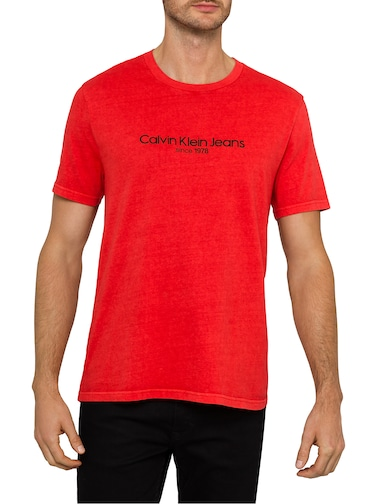 Calvin Klein Old School Crew Tee In Red Clash