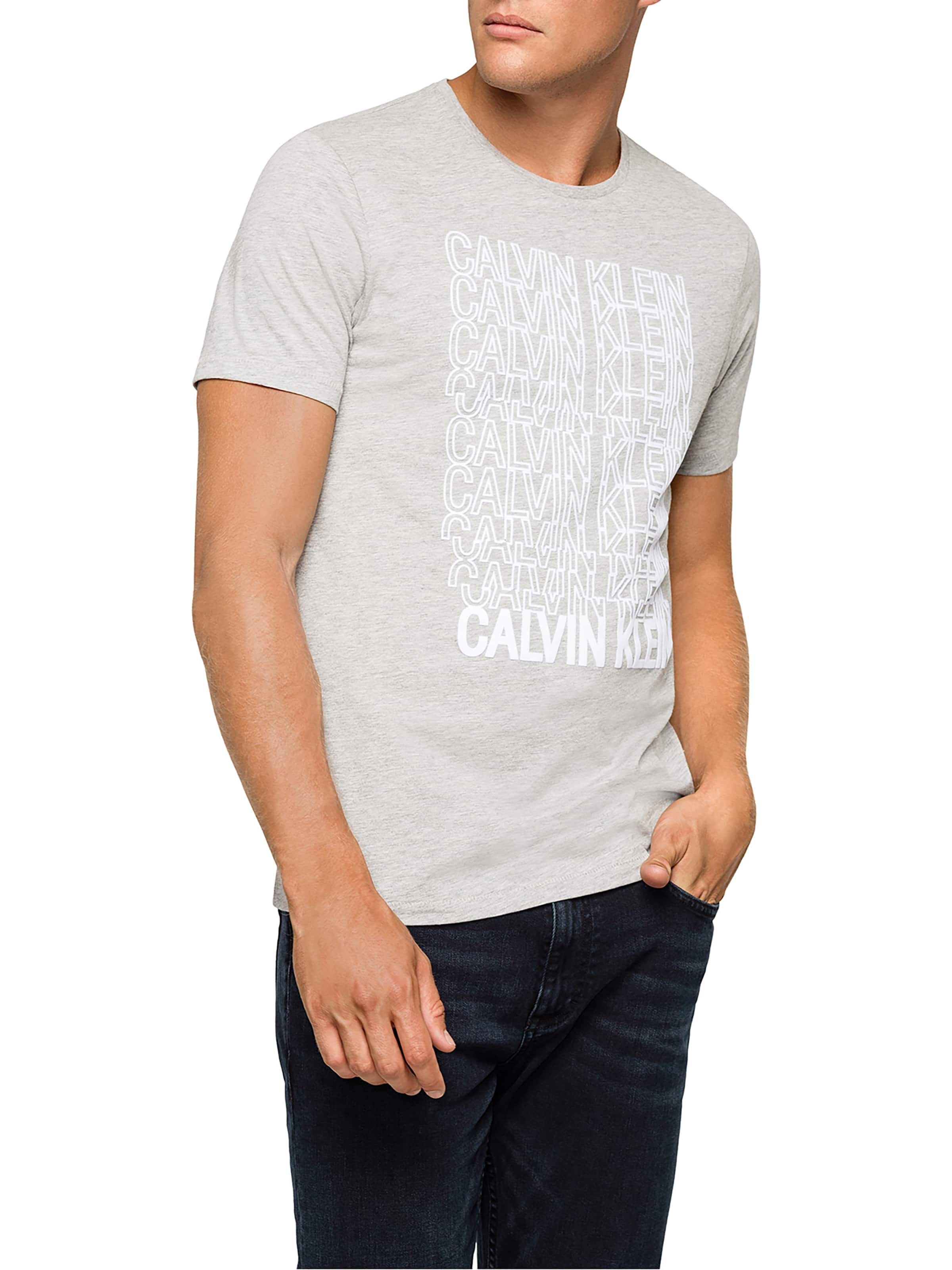 Calvin Klein Flock Crew Tee In Light Grey